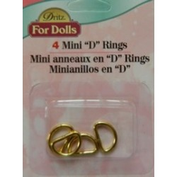 Dritz Mini D Rings Gold Pk 4